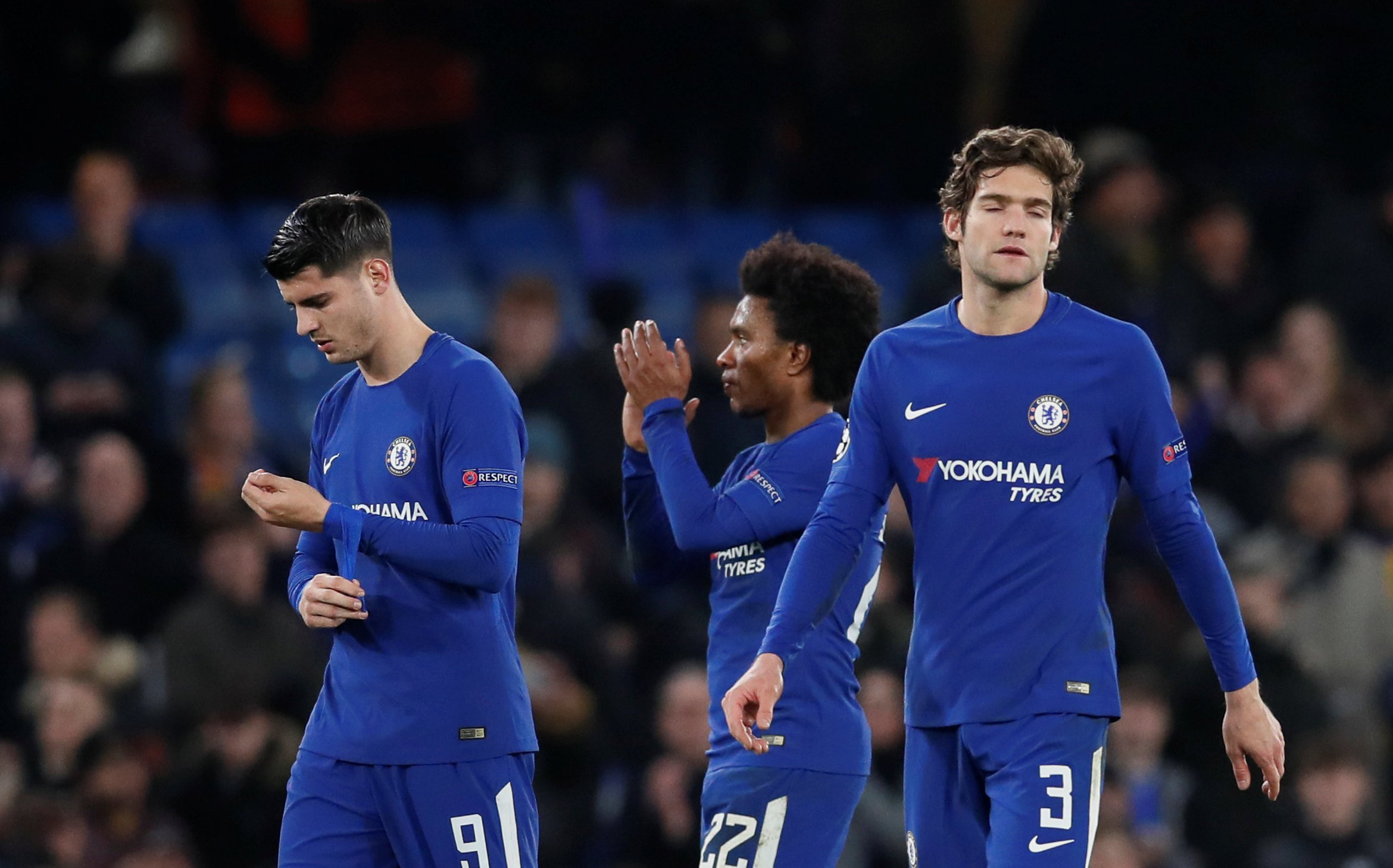 Soccer Football - Champions League Round of 16 First Leg - Chelsea vs FC Barcelona - Stamford Bridge, London, Britain - February 20, 2018 Chelsea's Marcos Alonso, Alvaro Morata and Willian react after the match REUTERS/David Klein