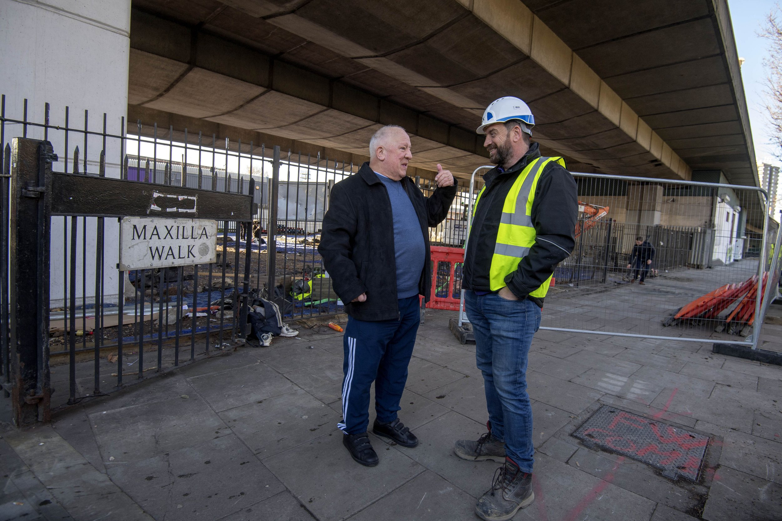 EMBARGOED TO 1200 MONDAY MARCH 26 BBC's DIY SOS Nick Knowles (right) talks with Mick Delaney, senior coach of the Dale Youth Amateur Boxing Club which used to be housed on the first floor of Grenfell Tower, on the site of a brand new multi-use community space and gym that his team are building for the Grenfell community on a site underneath the A40. PRESS ASSOCIATION Photo. Picture date: Monday March 26, 2018. Photo credit should read: Victoria Jones/PA Wire