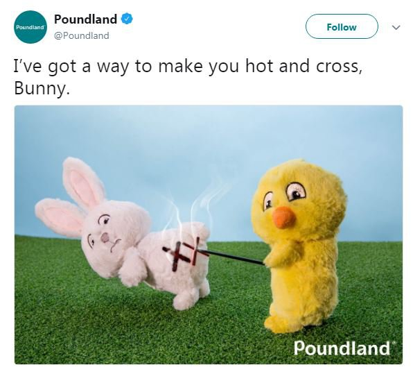 Poundland being controversial on Twitter again Picture: @Poundland REF: https://twitter.com/Poundland/status/977862821903060992