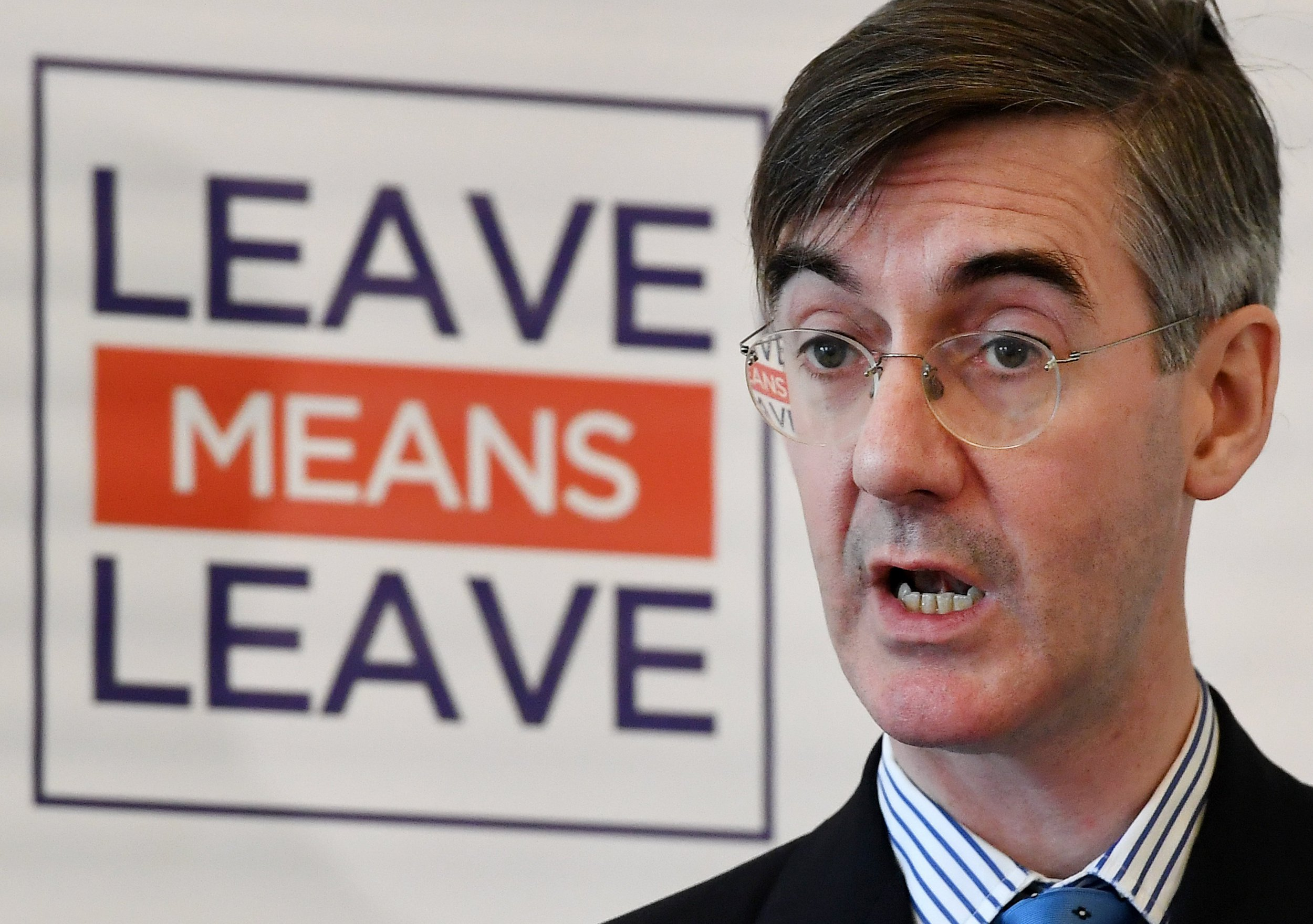 epa06631838 British Conservative Member of Parliament and Brexit hard liner Jacob Rees Mogg delivers a speech on Brexit in London, Britain, 27 March 2018. Jacob Rees Mogg called for the country to come together to embrace the economic opportunities of independence from Brussels. EPA/ANDY RAIN
