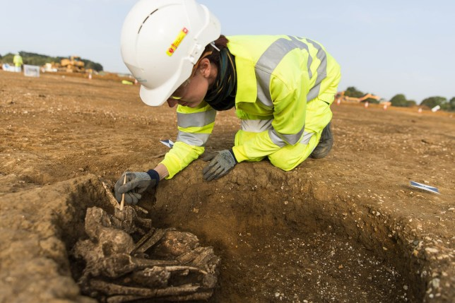 Undated handout photo issued by MOLA Headland Infrastructure of a skeleton found at the site of a medieval village near Houghton which was discovered during the A14 upgrade project between Cambridge and Huntingdon. Workers upgrading a stretch of the A14 near Cambridge have uncovered an abandoned medieval village. PRESS ASSOCIATION Photo. Issue date: Tuesday March 27, 2018. See PA story HISTORY A14. Photo credit should read: MOLA Headland Infrastructure/PA Wire NOTE TO EDITORS: This handout photo may only be used in for editorial reporting purposes for the contemporaneous illustration of events, things or the people in the image or facts mentioned in the caption. Reuse of the picture may require further permission from the copyright holder.