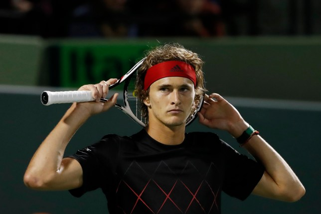 Mar 27, 2018; Key Biscayne, FL, USA; Alexander Zverev of Germany reacts after missing a shot against Nick Kyrgios of Australia (not pictured) on day eight of the Miami Open at Tennis Center at Crandon Park. Zverev won 6-4, 6-4. Mandatory Credit: Geoff Burke-USA TODAY Sports