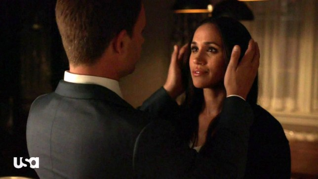 """BGUK_1189099 - ** RIGHTS: WORLDWIDE EXCEPT IN UNITED STATES ** Los Angeles, CA - Meghan Markle locks lips with on-screen boyfriend Patrick J Adams as Suits returns and hints how the couple may exit the show at the end of the season. The hit show is setting up Markle and Adams' eventual exits as during the season seven spring return, titled Hard Truths, hints were dropped as to how the legal drama will address their impending departures as lawyer Rachel Zane and junior partner Mike Ross, Markle's decision to leave the series was made official last November following her real-life engagement to Prince Harry, while Adams announced his exit in January. Mike and Rachel spend much of the episode innocently flirting, joking about their upcoming nuptials and teaming up for a complicated new case, proving that the engaged couple operates better together rather than apart. They make that same observation in the kitchen of their home, after successfully striking a million-dollar monster deal for their client. Mike broaches the idea that because they're quite the unbeatable team, they should co-lead law cases together. """"What if I told you that I had a gut feeling that you and I should do this more often?"""" Mike sweetly proposes to Rachel. """"Make out in the kitchen? Yes! All over that,"""" she jokes. """"I'm serious. Let's do more cases together. We hardly get to see each other anymore,"""" Mike says, introducing a possible idea for the show to bid the couple off by season's end, adding later that he simply misses his fiancee. """"If this is about making time together, then why don't we make time for what's really important? The wedding,"""" Rachel says. """"It's going to be here before we know it and we haven't done anything we need to. So let's stop putting it off."""" Mike and Rachel's desires to team up professionally could be one way for Suits to write the characters off without killing them off. There are just five more episodes of the season left before fans will find out exactly how Rachel and"""