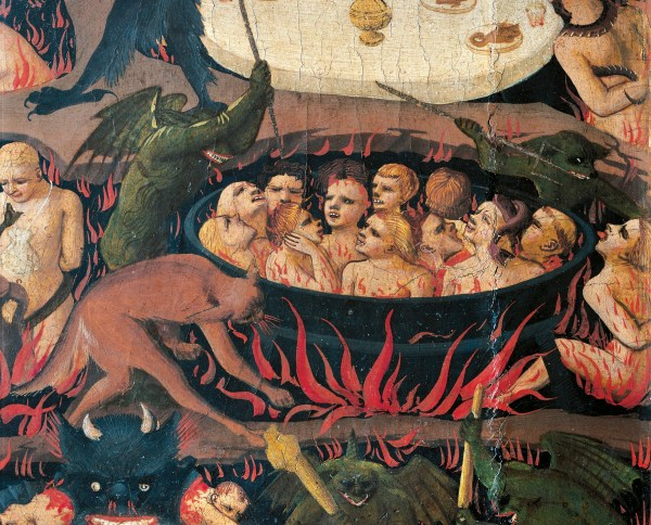 ITALY - CIRCA 2002: Florence, Museo Di San Marco (Art Museum) Hell with demons and the damned, detail from The Last Judgement, 1431, by Giovanni da Fiesole known as Fra Angelico (1400-ca 1455), tempera on wood, 105x210 cm. (Photo by DeAgostini/Getty Images)