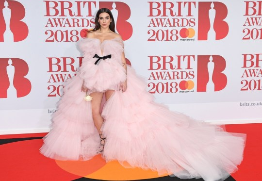 BGUK_1151229 - London, UNITED KINGDOM - Celebrities attend the 38th edition of the Brit Awards at the O2 Arena in London, UK. Pictured: Dua Lipa BACKGRID UK 21 FEBRUARY 2018 BYLINE MUST READ: TIMMSY / BACKGRID UK: +44 208 344 2007 / uksales@backgrid.com USA: +1 310 798 9111 / usasales@backgrid.com *UK Clients - Pictures Containing Children Please Pixelate Face Prior To Publication*