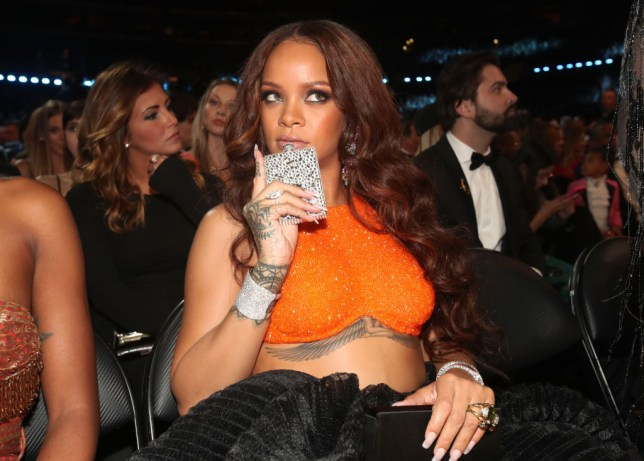 Rihanna with hip flask at Grammys