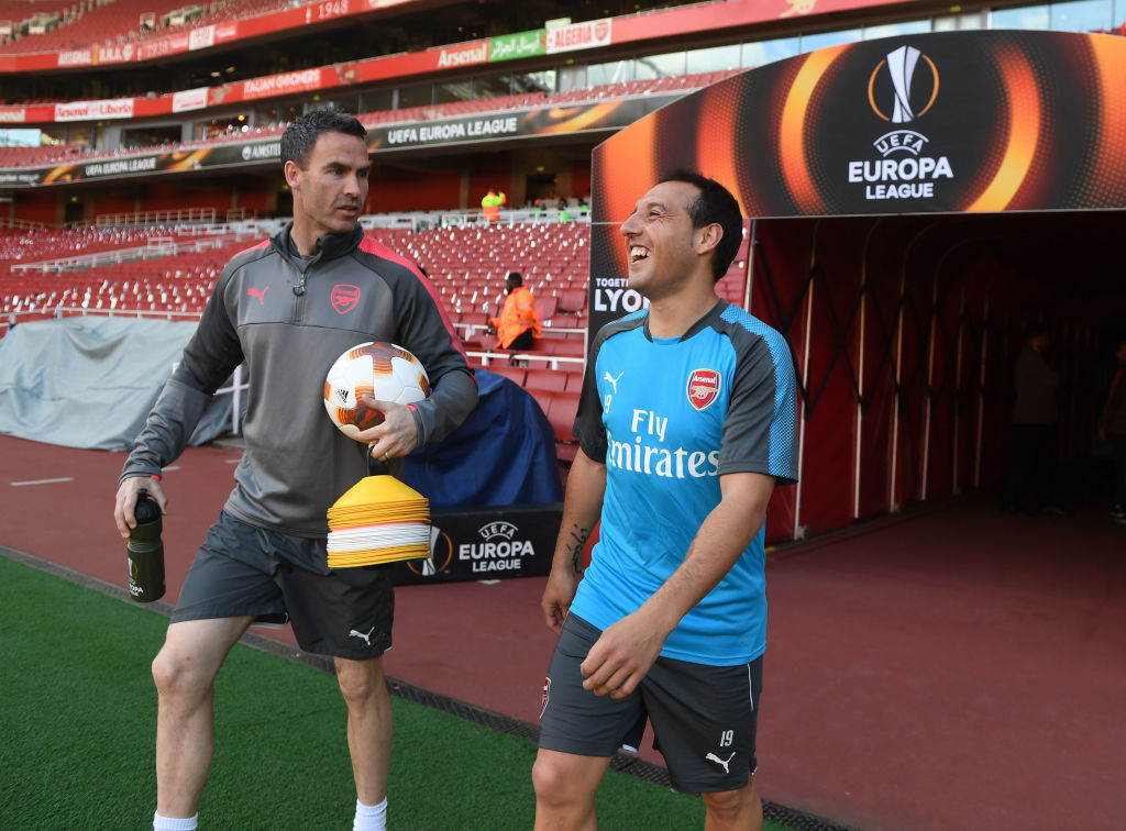 Santi Cazorla trains at the Emirates prior to Arsenal's Europa League clash