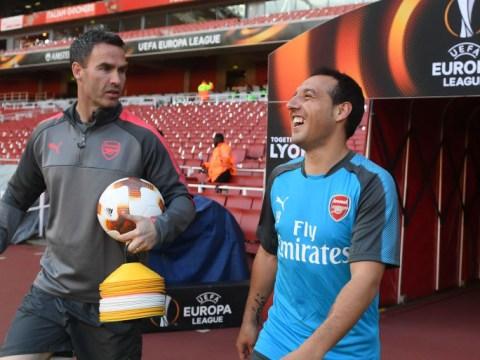 Santi Cazorla trains at the Emirates prior to Arsenal's Europa League clash