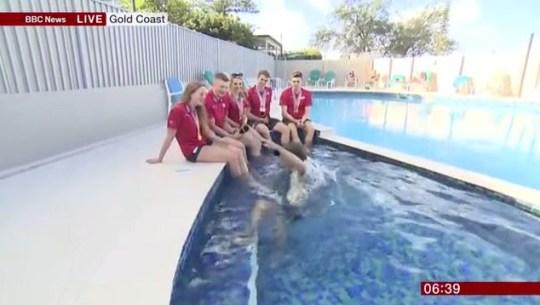 Mike Bushell BBC Breakfast falls into swimming pool