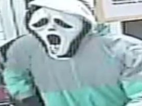 Man caught on CCTV raiding shop in Deliveroo jacket and Scream mask