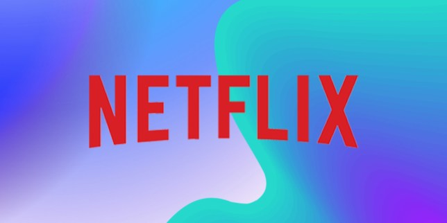 the netflix logo on a blue, green and purple background