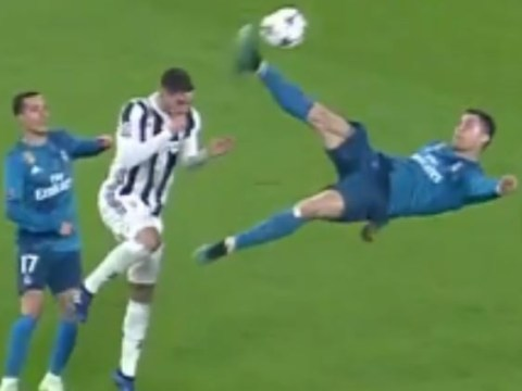 Juventus fans stand up to applaud Cristiano Ronaldo's stupendous overhead kick