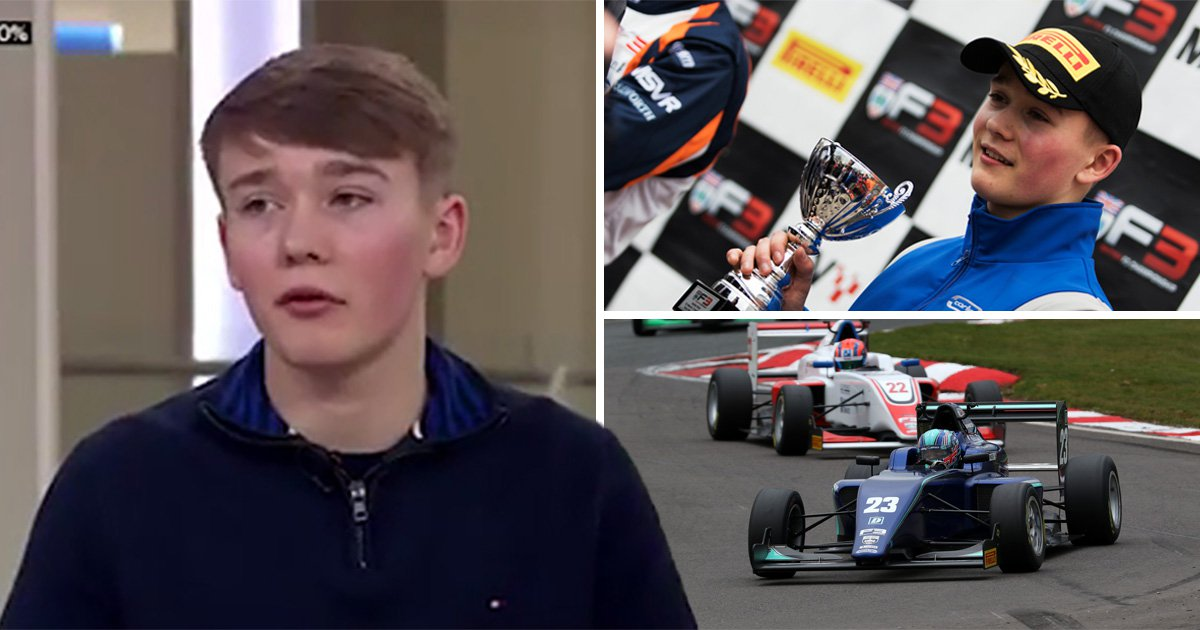 Teenager comes third in Formula 3 race less than a year after having both legs amputated