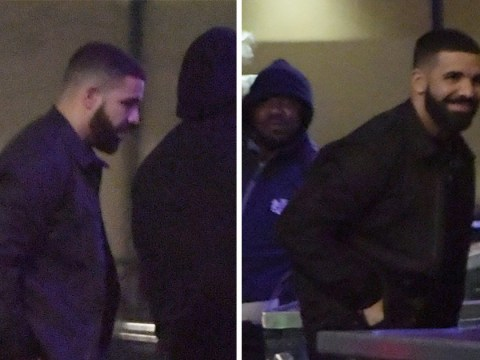 Drake flashes cheeky grin as he heads to Playboy club on lads night in London