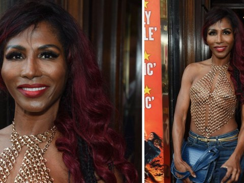 Sinitta braves the London heat in see-through chainmail handkerchief top