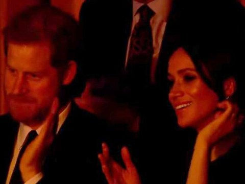 One Meghan Markle is very amused as Shaggy grinds across the stage at Queen's 92nd birthday bash