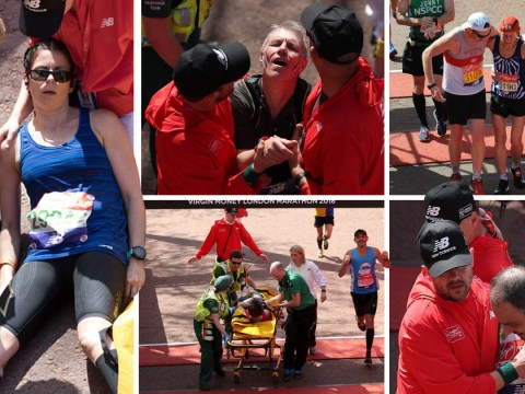 Heroic runners help each other to finish line of hottest London Marathon on record