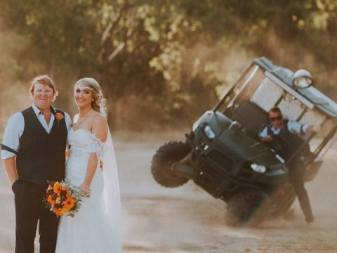 Groomsman upstages the bride by accidentally rolling over in a golf buggy in the wedding photos