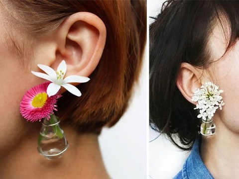 These tiny vase earrings can hold actual flowers