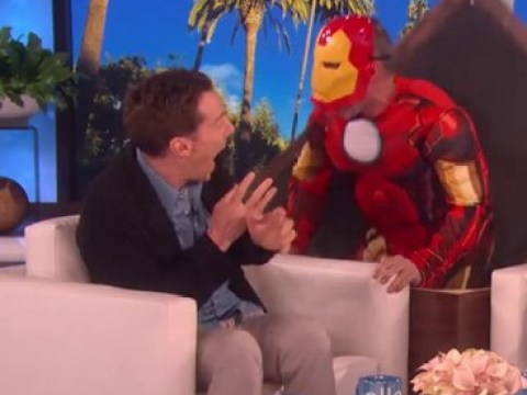 Benedict Cumberbatch is scared witless by Iron Man as Ellen DeGeneres pranks the Avengers star