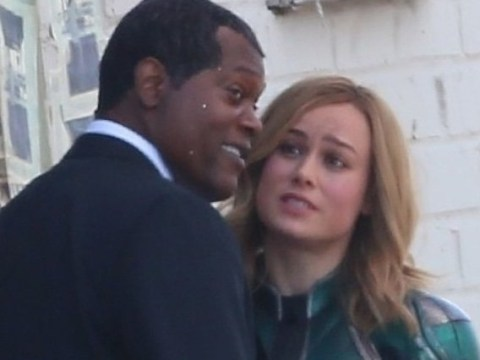 Samuel L Jackson joins Brie Larson on Captain Marvel set – without Nick Fury's iconic eye-patch