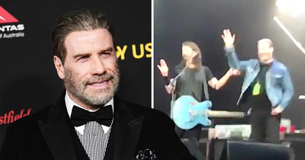 John Travolta gives Foo Fighters fans the chills as he joins band for Grease cover