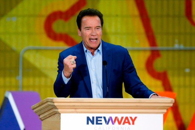 FILE - In this March 21, 2018 file photo, former California Gov. Arnold Schwarzenegger speaks at the first New Way California Summit in Los Angeles. Schwarzenegger is recovering in a Los Angeles hospital after undergoing heart surgery. He had a scheduled procedure to replace a pulmonic valve on Thursday, March 29, according to Schwarzenegger???s spokesman. He is in stable condition. (AP Photo/Damian Dovarganes, File)