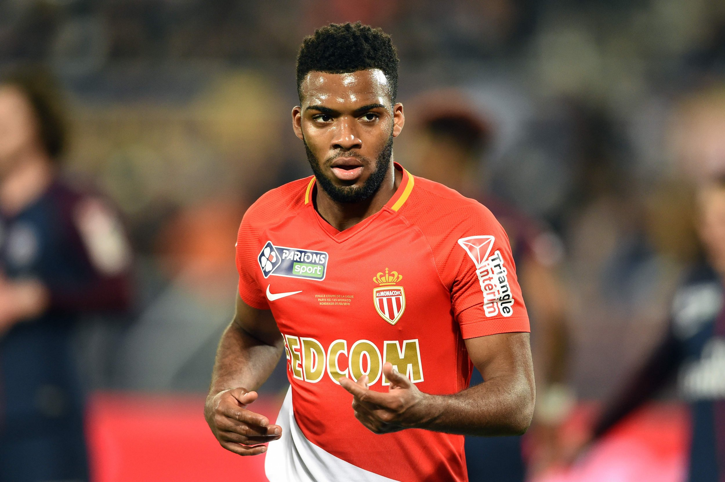 Monaco's French midfielder Thomas Lemar gestures during the French League Cup final football match between Monaco (ASM) and Paris Saint-Germain (PSG) at The Matmut Atlantique Stadium in Bordeaux, southwestern France on March 31, 2018. / AFP PHOTO / Nicolas TUCATNICOLAS TUCAT/AFP/Getty Images