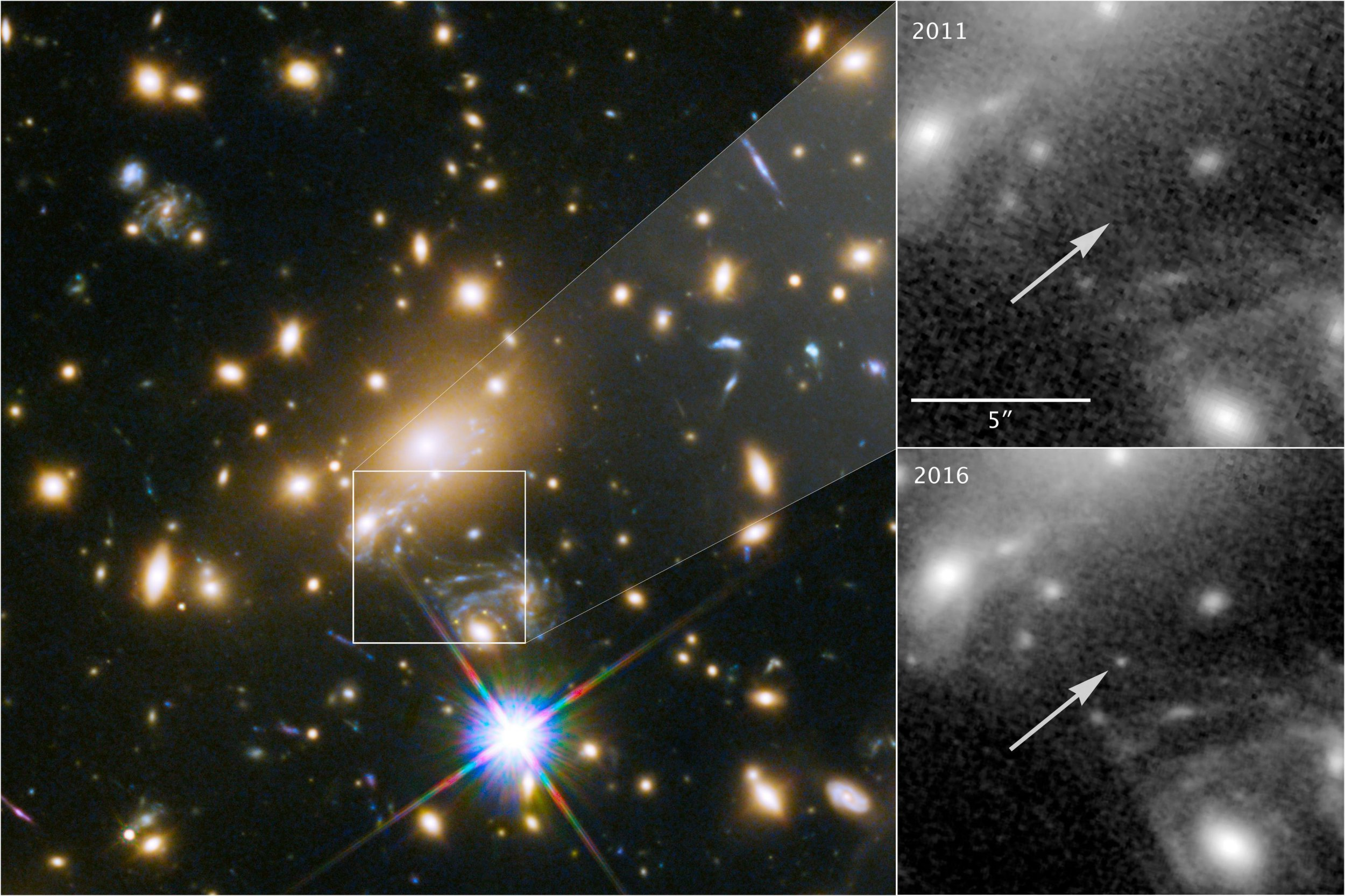 """Undated NASA, ESA, and P. Kelly/University of Minnesota handout photos of a rare cosmological phenomenon which has allowed astronomers to image the most distant individual star ever seen. PRESS ASSOCIATION Photo. Issue date: Monday April 2, 2018. A blue """"supergiant"""" nine billion light years away is the most distant single star ever to be observed by astronomers. Usually at such distances scientists can only image galaxies, collections of billions of stars such as our own Milky Way, or supernovas and gamma ray bursts, colossal cosmic explosions. See PA story SCIENCE Star. Photo credit should read: NASA, ESA, and P. Kelly/University of Minnesota/PA Wire NOTE TO EDITORS: This handout photo may only be used in for editorial reporting purposes for the contemporaneous illustration of events, things or the people in the image or facts mentioned in the caption. Reuse of the picture may require further permission from the copyright holder."""