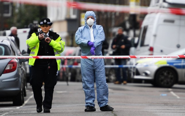 epa06642796 Police and forensic officers work at the scene of a gun crime in Tottenham, in the north of London, Britain, 03 April 2018. A 17-year-old girl reportedly was shot dead in Tottenham on 02 April night night and was pronounced dead at the scene. In other incidents not far from this crime a boy was found with shot wounds and another boy with stab wounds, although police reportedly does not link the crimes with each other. Media reports in the past days stated that violent crimes are on the increase in the British capital with murder rates in the meantime narrowing to the figures known of the US metropole New York. EPA/ANDY RAIN