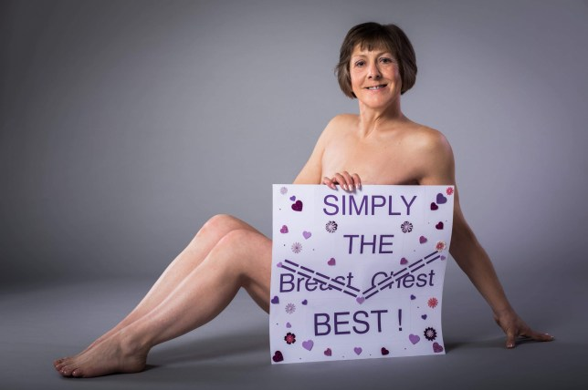 Sharon Donnelly, 54 on her nude photo shoot. See Masons copy MNFLATTIE: A brave woman who had both breasts removed due to cancer took part in a nude photo shoot and says she?s now ?a happy flattie?. Sharon Donnelly, 54, said she had to fight to have her second breast removed as she feared her cancer would return. She said doctors told her it was healthy and initially refused to do the second operation. But after battling the decision for months and finally convincing them to operate, she claims doctors discovered cancerous tissue in the remaining breast.