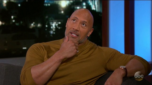 Dwayne Johnson during an appearance on ABC's Jimmy Kimmel Live!' Dwayne promotes the movie 'Rampage.' Featuring: Dwayne Johnson Where: United States When: 04 Apr 2018 Credit: Supplied by WENN.com **WENN does not claim any ownership including but not limited to Copyright, License in attached material. Fees charged by WENN are for WENN's services only, do not, nor are they intended to, convey to the user any ownership of Copyright, License in material. By publishing this material you expressly agree to indemnify, to hold WENN, its directors, shareholders, employees harmless from any loss, claims, damages, demands, expenses (including legal fees), any causes of action, allegation against WENN arising out of, connected in any way with publication of the material.**