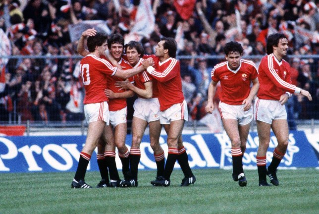Mandatory Credit: Photo by Colorsport/REX/Shutterstock (3119618a) Bryan Robson (Utd) celebrates his 1st goal with Norman Whiteside Arnold Muhren and Ray Wilkins Manchester United v Brighton FA Cup Final Replay 1983 Wembley 1983 FA Cup Final Replay: Man Utd 4 Brighton 0 Sport