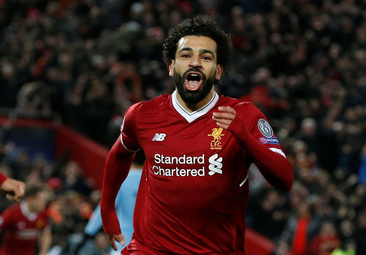 Soccer Football - Champions League Quarter Final First Leg - Liverpool vs Manchester City - Anfield, Liverpool, Britain - April 4, 2018 Liverpool's Mohamed Salah celebrates scoring their first goal REUTERS/Andrew Yates