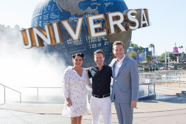 ITV handout photo of (left to right) Scarlett Moffatt, Declan Donnelly, and Stephen Mulhern during filming in Universal Orlando Resort in Florida for the finale of Ant & Dec's Saturday Night Takeaway. PRESS ASSOCIATION Photo. Issue date: Thursday April 5, 2018. See PA story SHOWBIZ Takeaway Minions. Photo credit should read: ITV/PA Wire NOTE TO EDITORS: This handout photo may only be used in for editorial reporting purposes for the contemporaneous illustration of events, things or the people in the image or facts mentioned in the caption. Reuse of the picture may require further permission from the copyright holder.