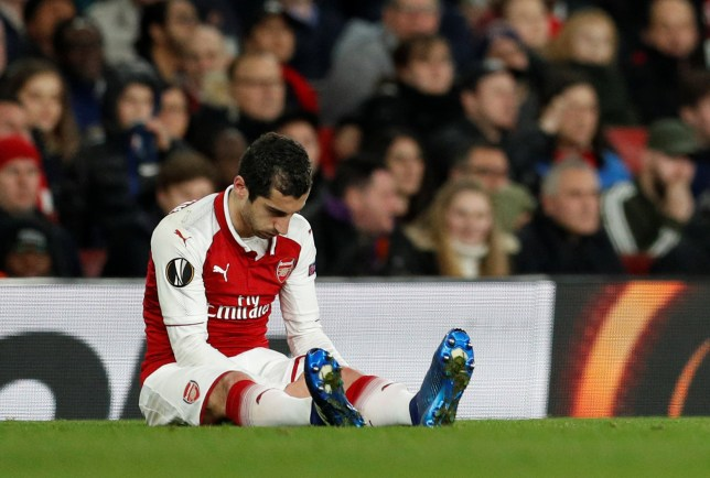 Soccer Football - Europa League Quarter Final First Leg - Arsenal vs CSKA Moscow - Emirates Stadium, London, Britain - April 5, 2018 Arsenal's Henrikh Mkhitaryan reacts after sustaining an injury Action Images via Reuters/John Sibley