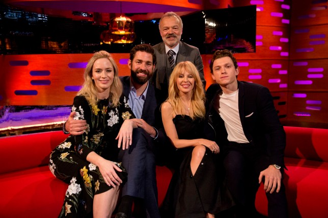 Host Graham Norton with (seated left to right) Emily Blunt, John Krasinski, Kylie Minogue and Tom Holland during filming for the Graham Norton Show at BBC Studioworks in London, to be aired on BBC One on Friday. PRESS ASSOCIATION. Picture date: Thursday April 5, 2018. Photo credit should read: PA Images on behalf of So TV