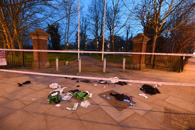 Bloodied clothes on the ground near the scene in Grove Road, Mile End, east London following reports of a stabbing. A flurry of attacks saw six more stabbings in London on Thursday, compounding a recent violent crime spike in the capital. PRESS ASSOCIATION Photo. Picture date: Thursday April 5, 2018. More than 50 people have been killed in the metropolis since the start of the year, more than 30 of whom were fatally knifed. See PA story POLICE Stabbing. Photo credit should read: John Stillwell/PA Wire NOTE TO EDITORS: This handout photo may only be used in for editorial reporting purposes for the contemporaneous illustration of events, things or the people in the image or facts mentioned in the caption. Reuse of the picture may require further permission from the copyright holder.
