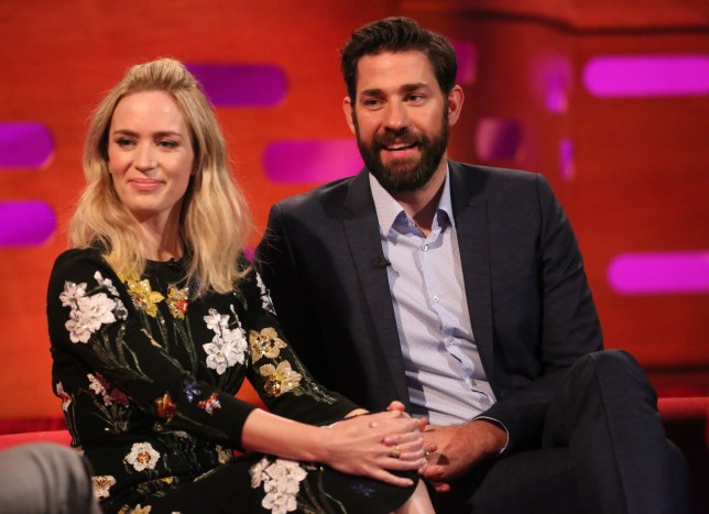 """File photo dated 05/04/18 of Emily Blunt and John Krasinski during filming for the Graham Norton Show, where actress revealed she told her husband to """"sack"""" another actress so she could star opposite him in A Quiet Place. PRESS ASSOCIATION Photo. Issue date: Friday April 6, 2018. The 35-year-old stars alongside Krasinski, 38, who she married in 2010, in the horror film. See PA story SHOWBIZ Norton. Photo credit should read: Isabel Infantes/PA Wire"""