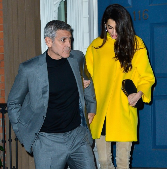 New York, NY - George Clooney and Amal go out to dinner holding hands in New York. Pictured: George Clooney, Amal Clooney BACKGRID USA 6 APRIL 2018 BYLINE MUST READ: North Woods / BACKGRID USA: +1 310 798 9111 / usasales@backgrid.com UK: +44 208 344 2007 / uksales@backgrid.com *UK Clients - Pictures Containing Children Please Pixelate Face Prior To Publication*