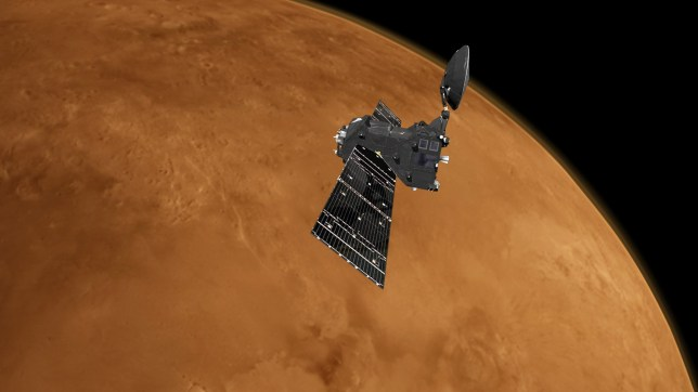 """European Space Agency undated handout artist impression of the ExoMars Trace Gas Orbiter at Mars. The European spacecraft orbiting Mars is ready to start searching for signs of life on the Red Planet. PRESS ASSOCIATION Photo. Issue date: Monday April 9, 2018. The TGO is due to begin its mission in the next two weeks, having completed a critical year-long aerobraking manoeuvre. Its primary goal is to """"sniff"""" the Martian atmosphere and look for evidence of methane, which may be an indication of active life on or below the planet's surface. See PA story SCIENCE Trace. Photo credit should read: ESA/ATG medialab/PA Wire NOTE TO EDITORS: This handout photo may only be used in for editorial reporting purposes for the contemporaneous illustration of events, things or the people in the image or facts mentioned in the caption. Reuse of the picture may require further permission from the copyright holder."""