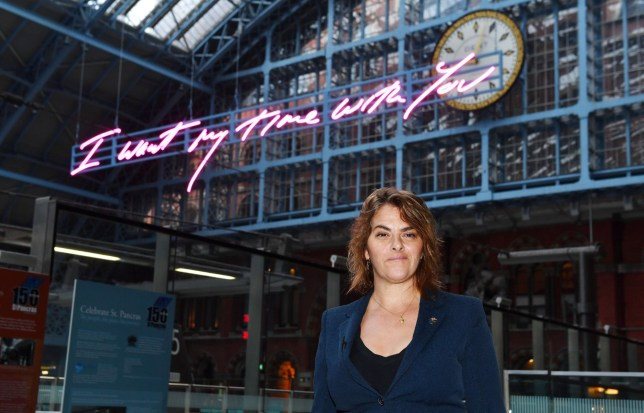 Tracey Emin unveils her 20-metre-long work, I Want My Time With You, 2018, part of the Terrace Wires installation programme at St Pancras International, London. PRESS ASSOCIATION Photo. Picture date: Tuesday April 10, 2018. See PA story ARTS Emin. Photo credit should read: John Stillwell/PA Wire