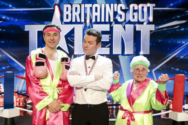 EDITORIAL USE ONLY / NO MERCHANDISING / NO BOOK PUBLISHING Mandatory Credit: Photo by Tom Dymond/Thames/REX/Shutterstock (3585212bl) David Walliams, Stephen Mulhern and Doris 'Britain's Got Talent' TV Programme, Manchester Day 2, Britain. Britain?s Got More Talent is Back! Episode One Stories Britain?s Got More Talent is back on ITV2 this Saturday at 8.30pm and is ready to unleash yet more absolute mayhem as Stephen Mulhern gets up closes and personal with the judges exclusively back stage. David vs Doris David will be facing a worthy competitor in his very own item, David vs Doris, which will see him pitted against a 90 year old woman in various nail biting challenges. This week the name of the game is Frozen Frolics where David and Doris have to open a folded t shirt which has been frozen. As they both get to grips with the frozen fun whoever does this in the quickest time will be victorious.