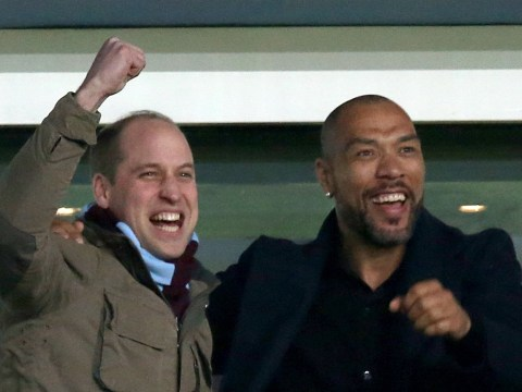 Prince William celebrates with Aston Villa team after dramatic late Cardiff winner