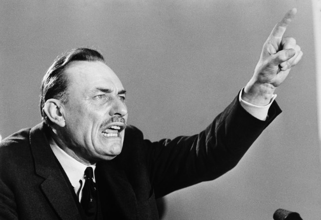 Conservative MP Enoch Powell speaking in Birmingham on 15th June 1970. (Photo by Popperfoto/Getty Images).