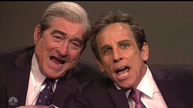 """BGUK_1204166 - ** RIGHTS: WORLDWIDE EXCEPT IN UNITED STATES ** Los Angeles, CA - Meet The Parents co-stars Robert De Niro and Ben Stiller recreate the movie's polygraph scene in hilarious Saturday Night Live cold opening sketch. The late night US show once again poked fun at President Donald Trump's legal troubles, though this time it featured surprise cameos from megastars Robert De Niro and Ben Stiller. De Niro portrayed Special Counsel Robert Mueller and Stiller spoofed Trump's personal lawyer, Michael Cohen. The two stars were in character while recreating the scene from their hit film Meet the Parents where suspicious dad De Niro gives Stiller a lie detector test. De Niro's Mueller hooks Stiller's Cohen up to a polygraph and asks him questions about the Trump investigation. """"How???d you like that pee pee tape?"""" Mueller jokingly asks Cohen. """"Are you a lawyer?"""" Mueller asks Cohen. """"Ish,"""" Cohen replies. When Mueller asks Cohen about the $130,000 payment to Stormy Daniels, he replies: """"Yes."""" """"And did President Trump know about it?"""" Mueller asks Cohen. """"No,"""" the lawyer replies. That???s when the polygraph machine begins to indicate that Cohen is lying. Cohen tells Mueller the payment to Daniels was: """"A gift like a rock you throw through a window with a note tied to it that says stop talking."""" """"So you threaten people?"""" Mueller asks Cohen. """"Directly? No. But let???s just say I cut a lot of letters out of a lot of magazines,"""" the lawyer replies. """"I???m just trying to milk some information out of people. So what?"""" """"Did you say milk?"""" Mueller asks Cohen. """"Yeah, like with a cow or a goat or a???cat. You can milk anything with nipples."""" """"Really?"""" Mueller asks. """"I have nipples. Can you milk me, Mr. Cohen?"""" The line about milking cats was directly taken from Meet the Parents. Cohen then asks Mueller what his code name is. """"Dead Man Walking,"""" Mueller replies. When Cohen tells Mueller that he has rights, Mueller threatens him. """"You broke the law,"""" Mueller tells Cohen. """"And now"""