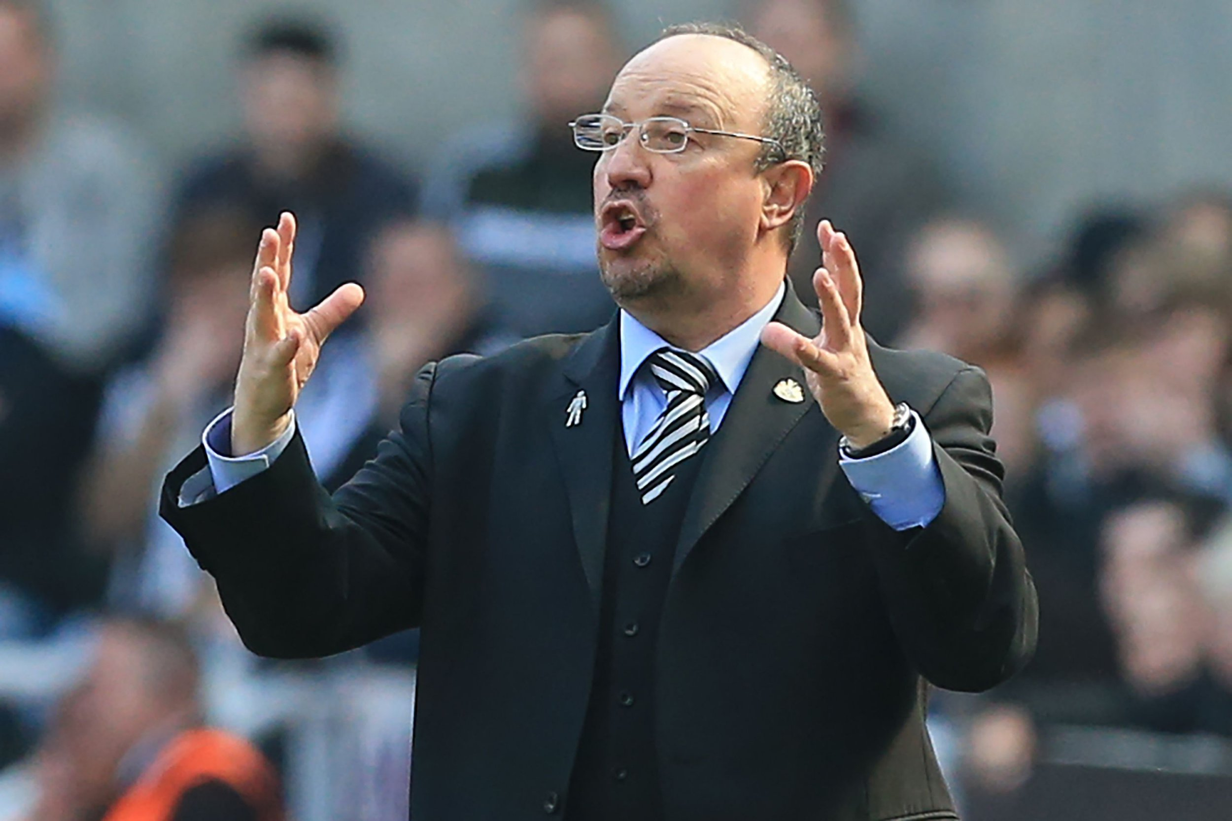 Newcastle United's Spanish manager Rafael Benitez gestures on the touchline during the English Premier League football match between Newcastle United and Arsenal at St James' Park in Newcastle-upon-Tyne, north east England on April 15, 2018. AFP PHOTO / Lindsey PARNABY / RESTRICTED TO EDITORIAL USE. No use with unauthorized audio, video, data, fixture lists, club/league logos or 'live' services. Online in-match use limited to 75 images, no video emulation. No use in betting, games or single club/league/player publications. / LINDSEY PARNABY/AFP/Getty Images
