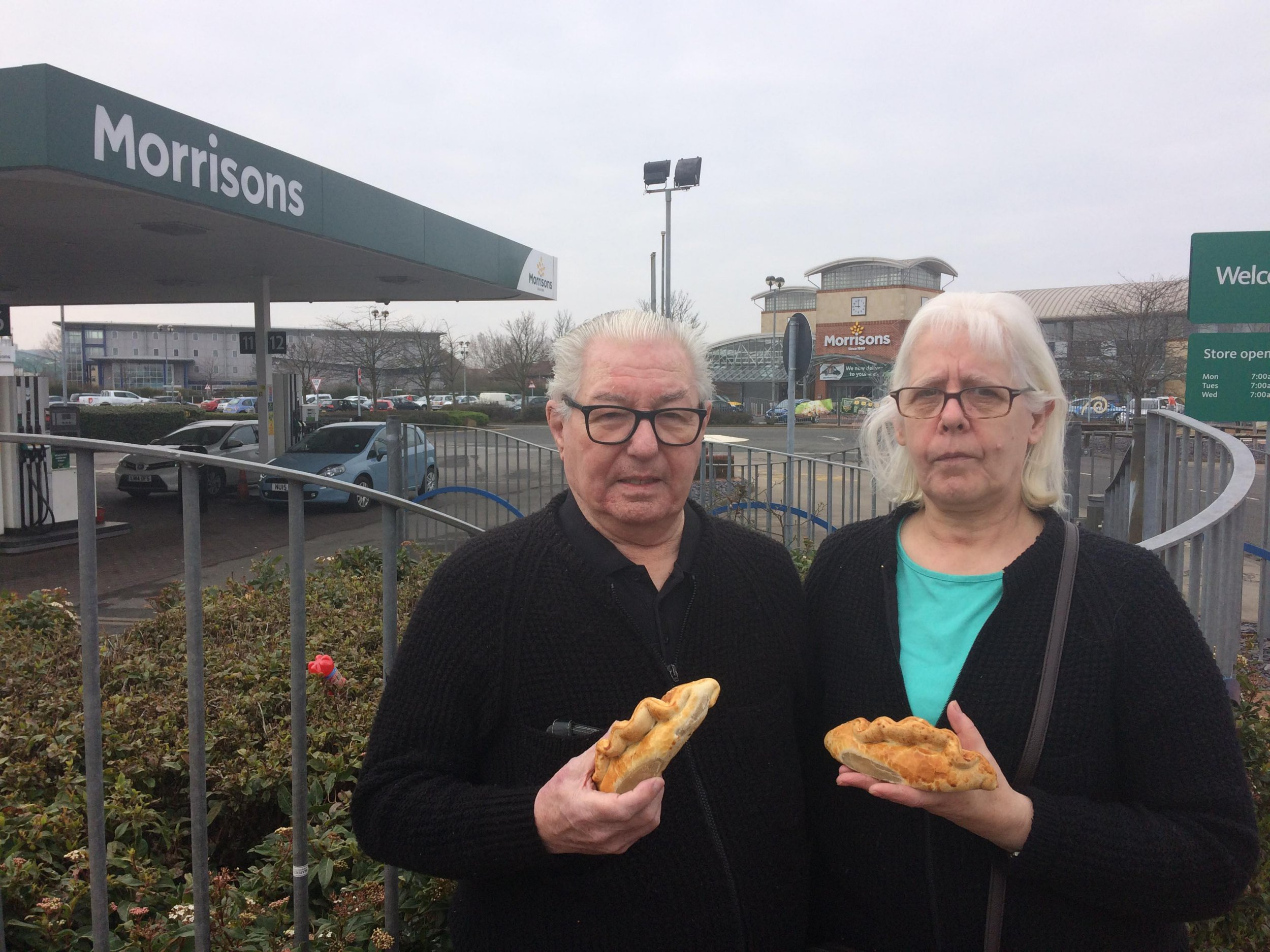 Linda and Tony Gilkes, from Thorntree, were refused meat pies before 9am in Berwick Hills Morrisons, Middlesbrough - It should have been a simple case of pie and sell. But Linda and Tony Gilkes were left piping hot with fury after their local??Morrisons??refused to sell them meat pies before 9am. ???I wanted eight large sausage rolls and two steak bakes,??? said Linda, 62, from Thorntree. ???It was 8.45am and there were no pies at all displayed. ???I could see bags and bags of pies, all wrapped up on cages behind the counter. The trolley was ready to be pushed out. ???But when I asked for the pies, I was told: ???We can???t sell the pies until 9am???. I could have had a fruit pie, but not a meat pie.??? ???I wanted eight large sausage rolls and two steak bakes,??? said Linda, 62, from Thorntree. ???It was 8.45am and there were no pies at all displayed.