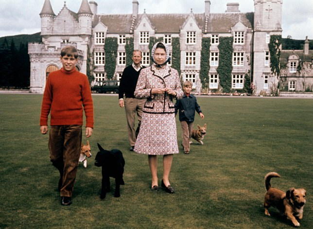 The Queen and Prince Andrew in the grounds of Balmoral, Scotland.