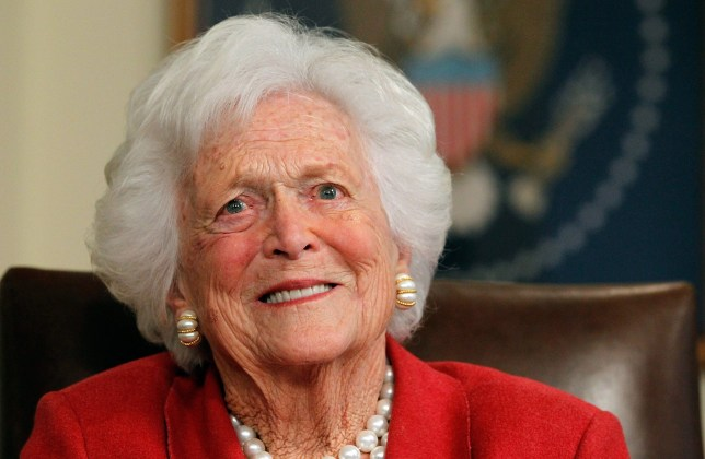 FILE- APRIL 17: Former First Lady Barbara Bush Dies at 92: HOUSTON, TX - MARCH 29: Barbara Bush talks with Republican presidential candidate, former Massachusetts Gov. Mitt Romney at Former President George H. W. Bush's office on March 29, 2012 in Houston, Texas. Mitt Romney received an endorsement from Former President George H.W. Bush and Barbara Bush during the meeting. (Photo by Tom Pennington/Getty Images)